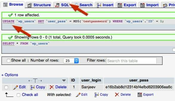 WordPress Admin Password Update