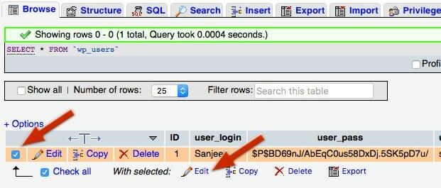 WordPress User Table Edit