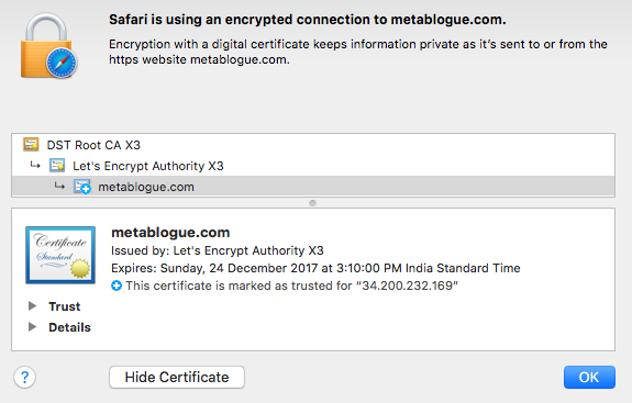 Additional Information For The SSL Certificate