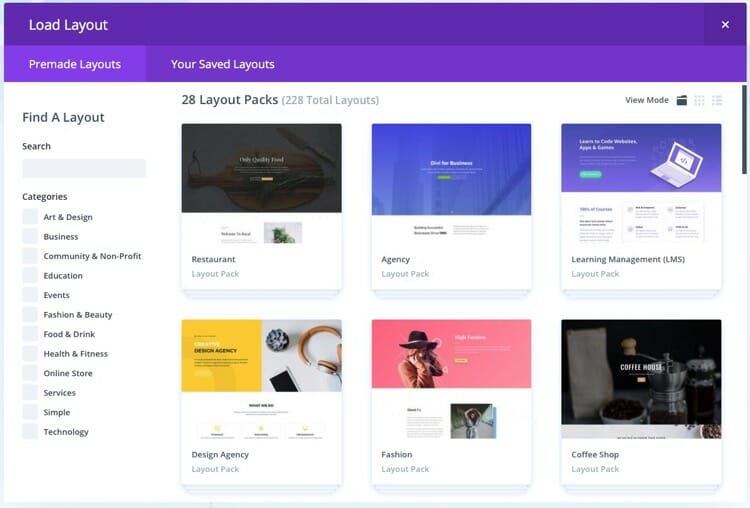 Divi Premade Layouts Package