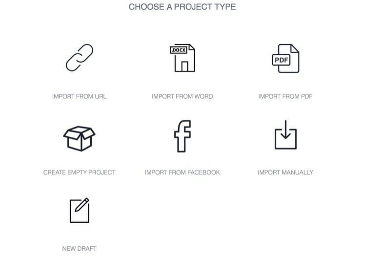 Designrr eBook Creator New Project Screen