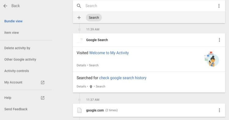 Find Your Google Search Activity on My Activity Page