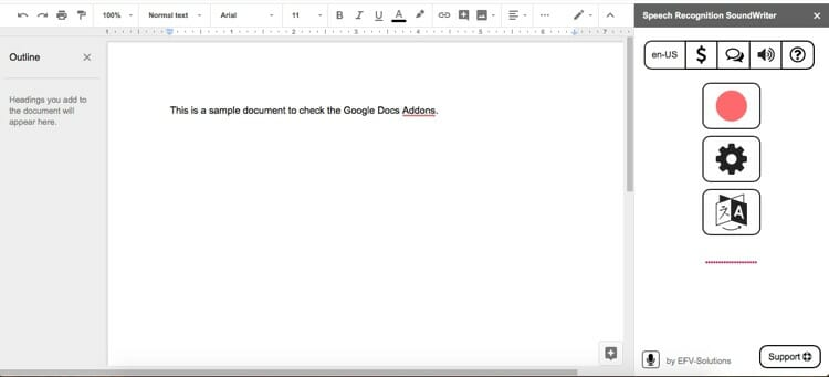 Speech Recognition Sound Writer Google Docs Add Ons