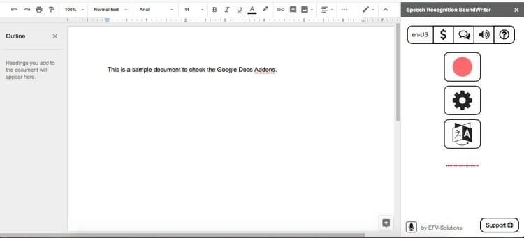 Speech Recognition Sound Writer Google Docs Add Ons