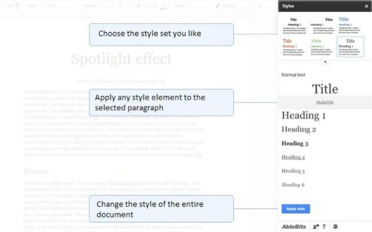Styles Google Docs Add Ons