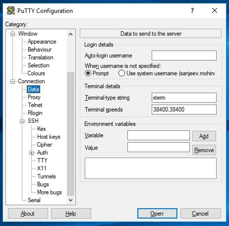 Putty Username Entry On Connection Screen