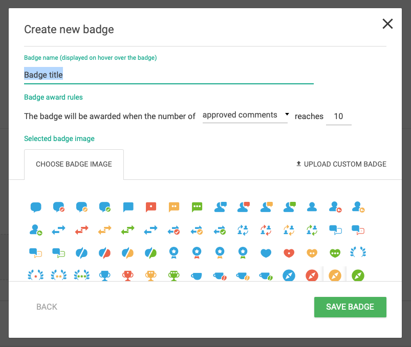 Create Badges In Thrive Comments Settings Screen
