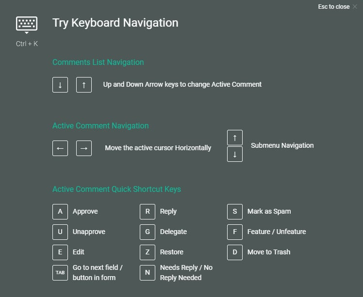 Keyboard Shortcuts For Comment Moderations