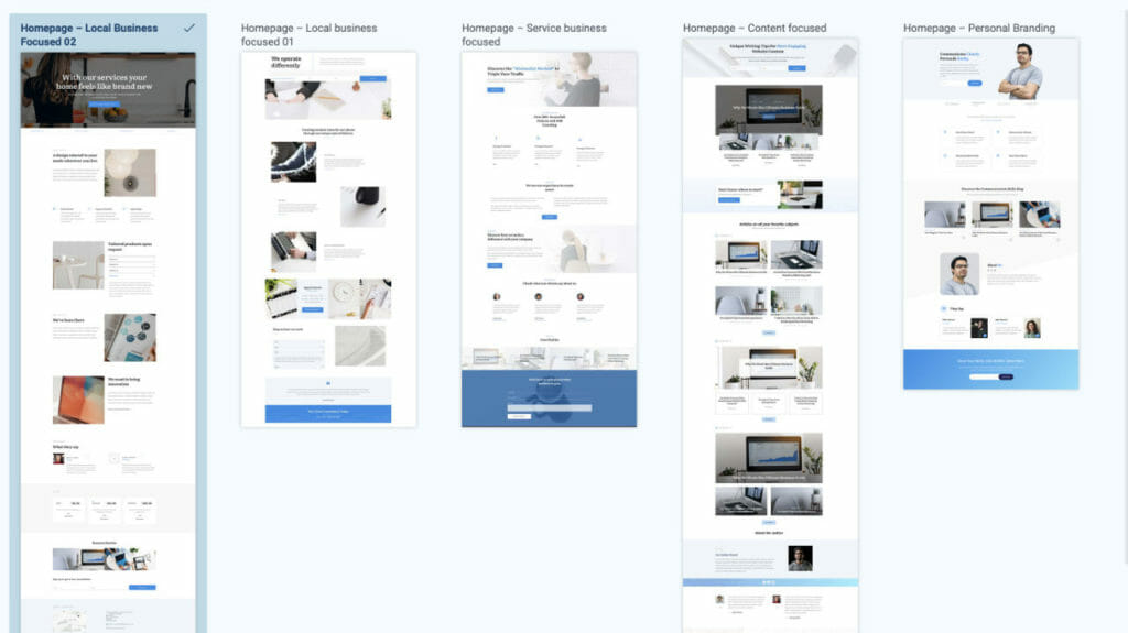 Homepage Predefined Layouts For Site Wizard Setup