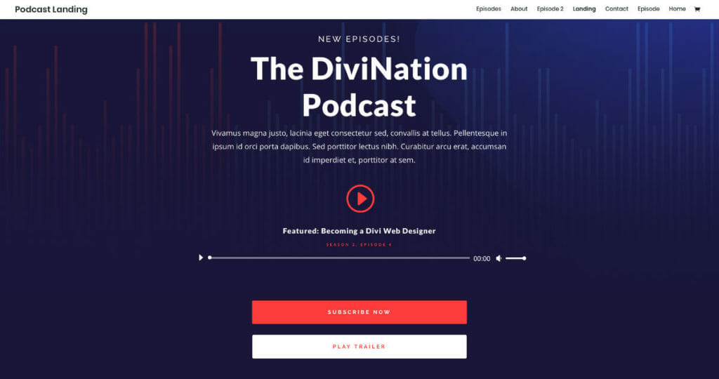Divi From Elegant Themes with Podcast Layout