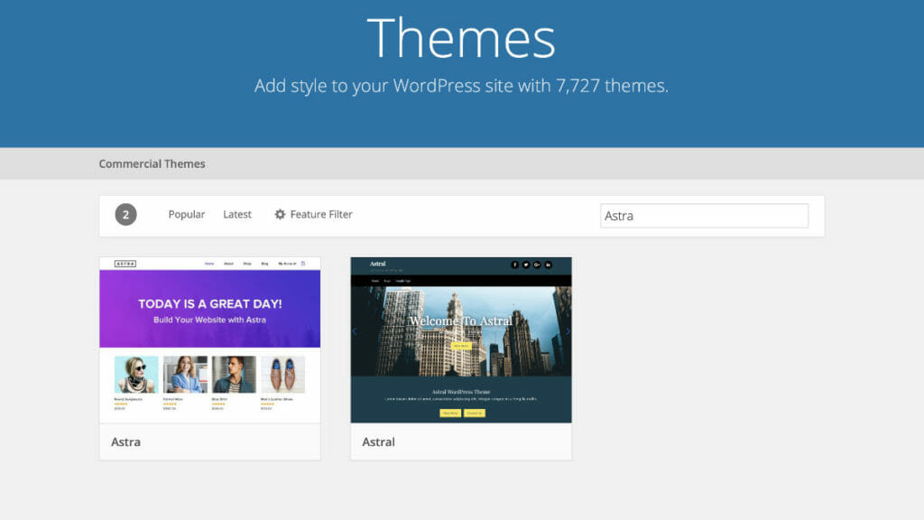 Astra WordPress Theme In WordPress Repository
