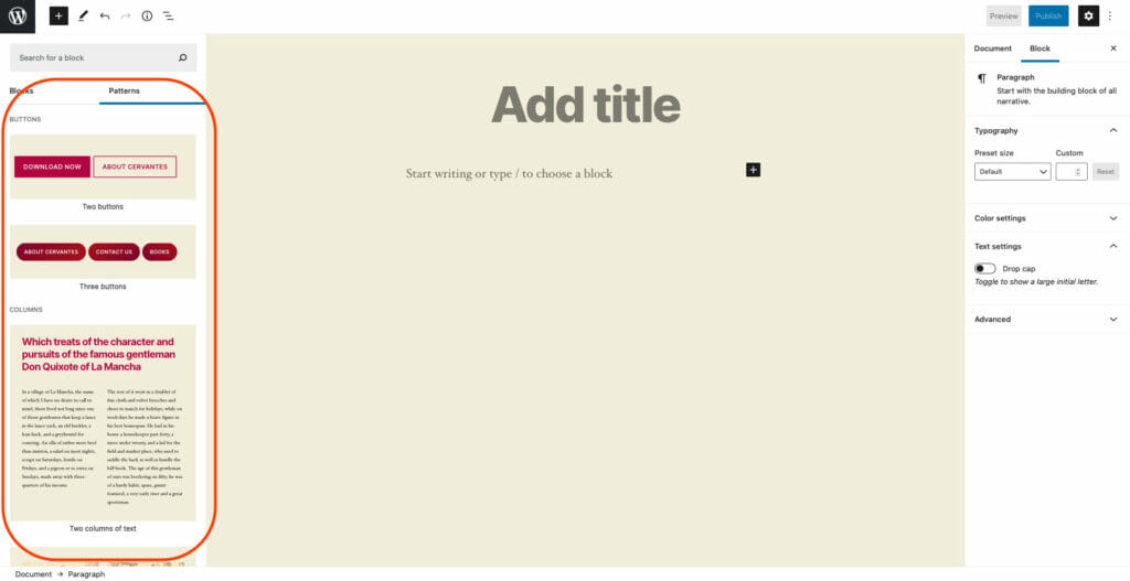 Block Patterns In WordPress Gutenberg Editor