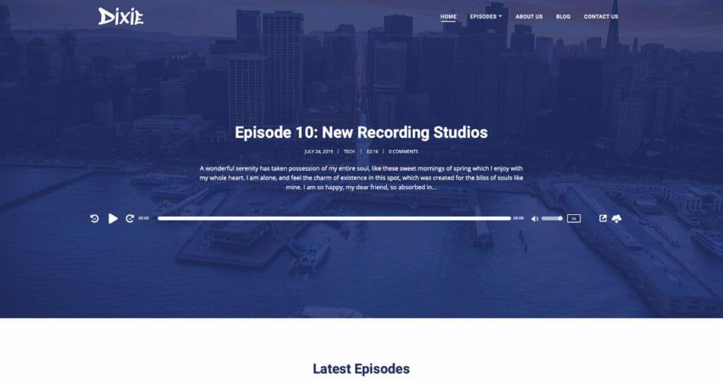 Dixie WordPress Theme For Audio Podcasters