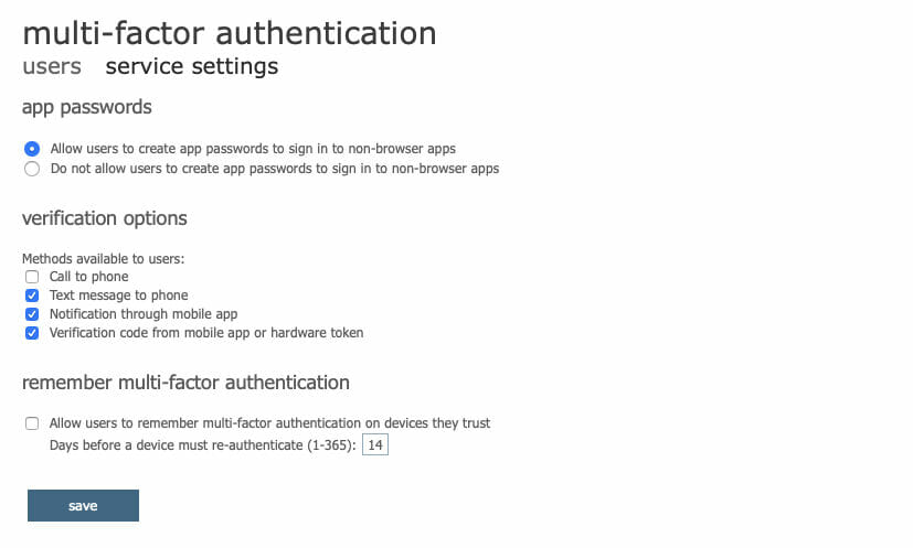 Allow App Password Creation For Users