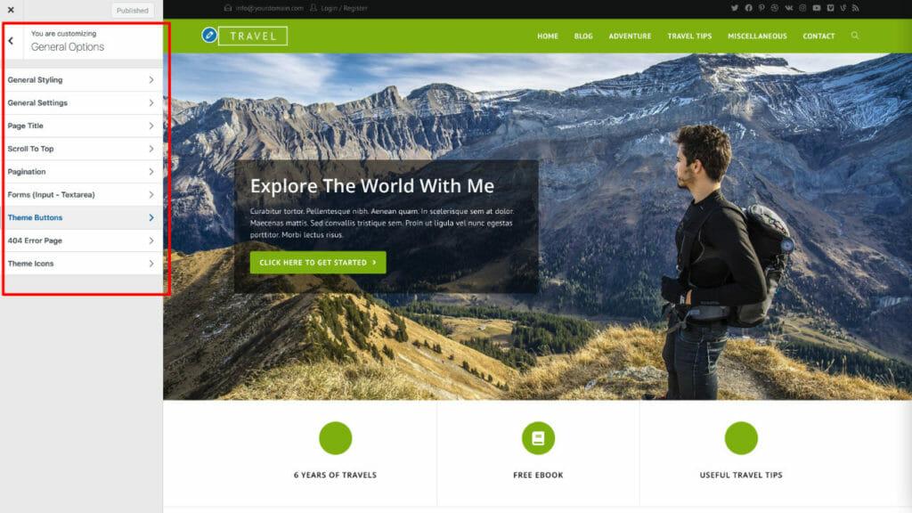 OceanWP WordPress Theme Customier Options